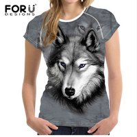 FORUDESIGNS 3D Wolf Pattern T Shirt Women Fashion Tshirt Funny Animals Print Summer Short Sleeved Tees