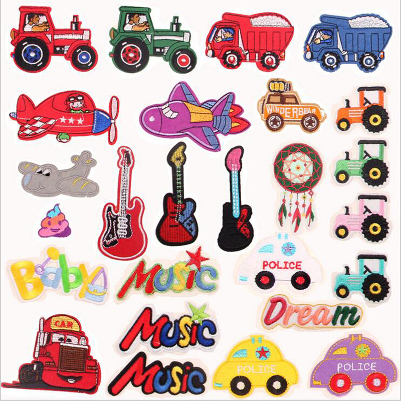 Cute Small Animal Cars Clothes Decors Lot Iron on Patches Kids DIY Clothing Set Cartoon Cats Applique