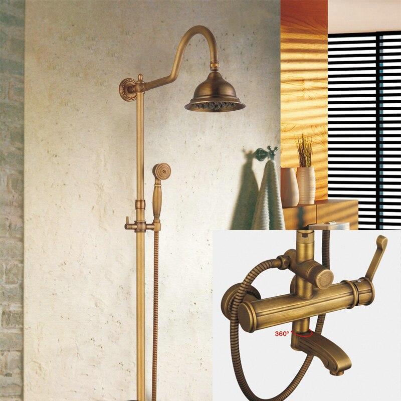Becola laiton Antique pomme de douche 8 pouces + Valve + douchette salle de bain montage mural robinet de douche ensemble GZ-6004