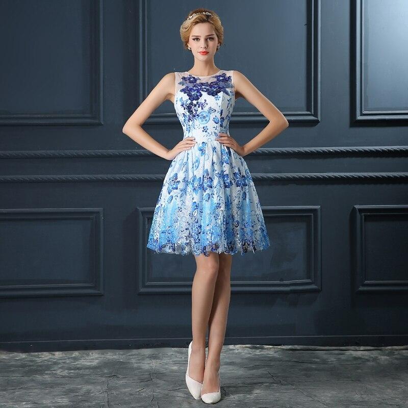 7cc1e34e7 Corto Vestido de Cóctel de Lentejuelas Rebordear Partido Del Regreso Al  Hogar de Baile Vestido de Encaje Azul Vestidos de Coctel Elegantes Vestidos  de ...