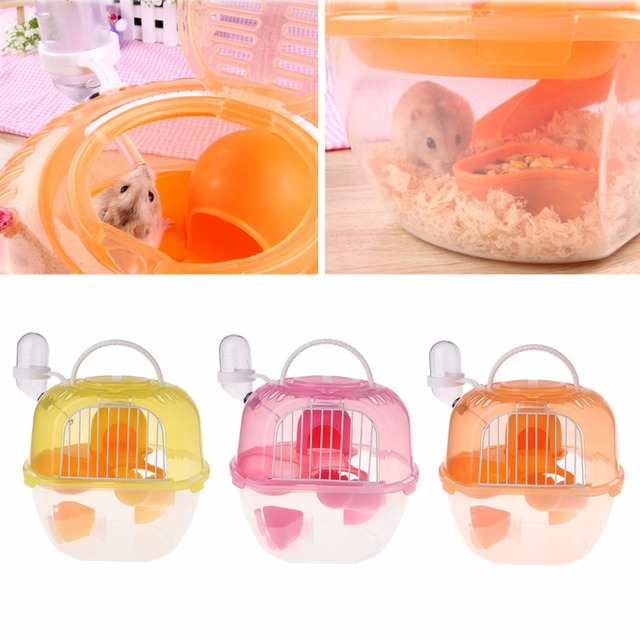 Hamster Cage Outdoor Portable Travel Double Layer Living House Carrying Plastic Habitat Cages Small Animal Supplies 2