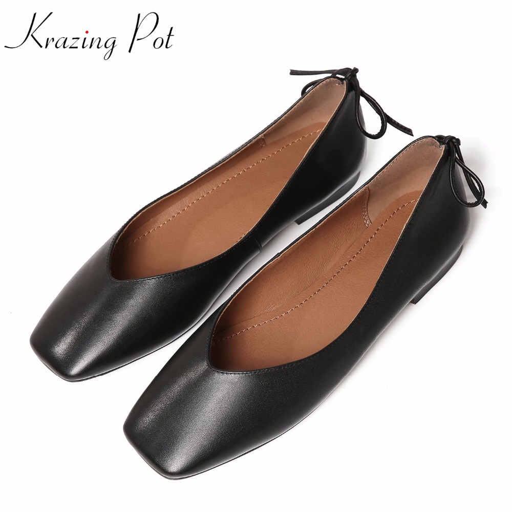 Classics fashion autumn flat with square toe genuine leather Hollywood star slip on solid color bowtie women casual shoes L71 sweet women high quality bowtie pointed toe flock flat shoes women casual summer ladies slip on casual zapatos mujer bt123