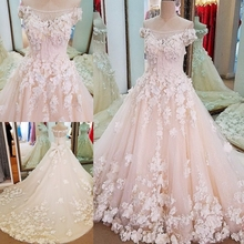 2018 Elegant weedding Dress Bride Champagne Short Sleeve