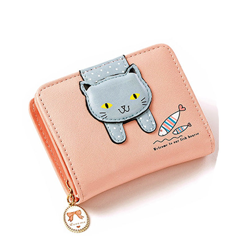 Designer Short Zipper Cute Cat Multi-card Bit Coin Purse High Quality Pu Leather Fashion Cartoon Cat Card Holder Women Wallets
