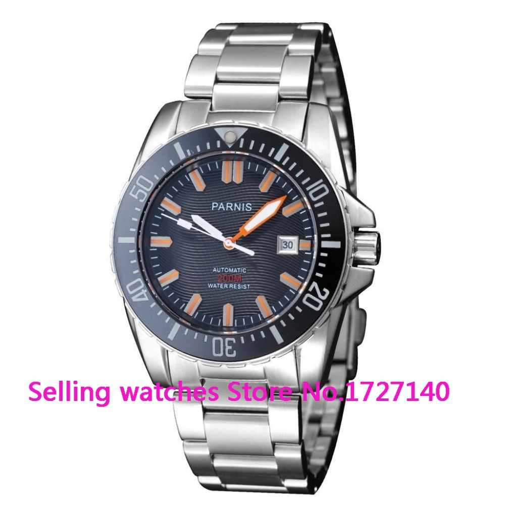 Parnis mm black dial Sapphire glass waterproof m automatic mens dive watch
