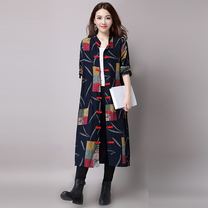 1c84f79a16f Mfelier Autumn Floral Print Trench Coat Stand Collar Plate Buckle Casaco  Feminino Single Breasted Long Trench Coat-in Trench from Women s Clothing  on ...