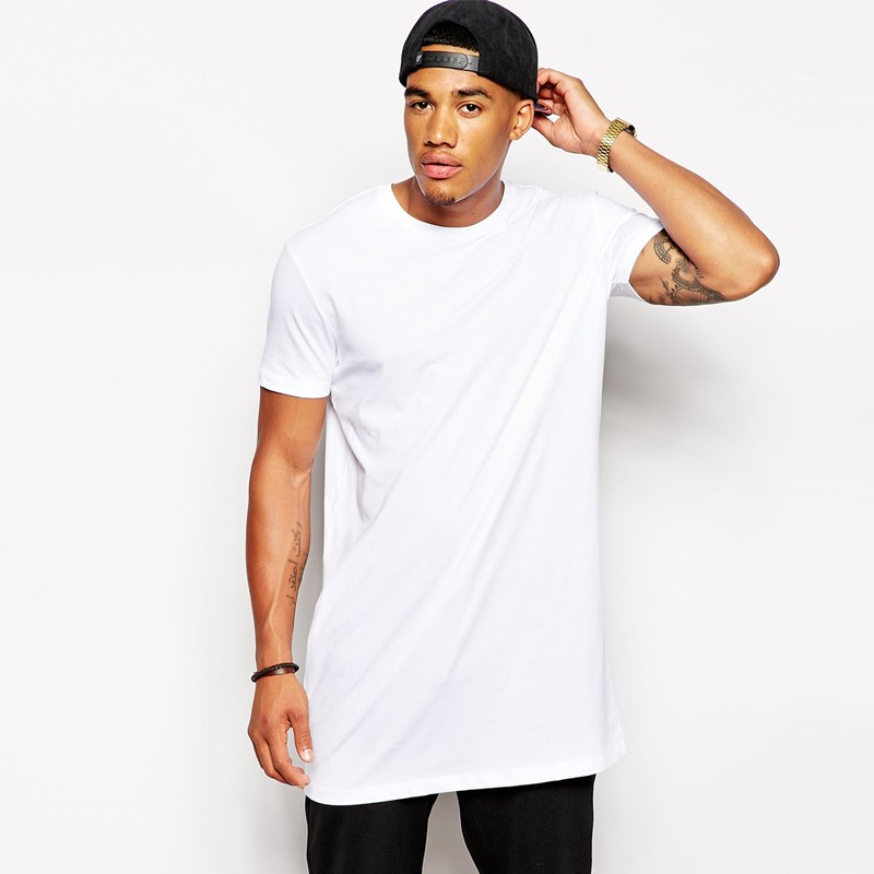 Brand New Men's Clothing White Long T Shirt Hip Hop Streetwear T-shirt Extra Long Length Tee Tops Long Line Tshirt