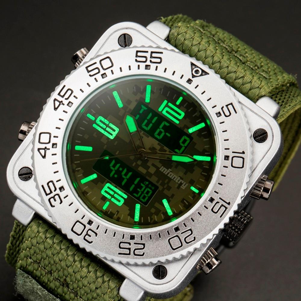 歩兵メンズ腕時計トップブランドの高級アナログデジタルミリタリー腕時計メンズ戦術的なスクエアビッグ腕時計男性レロジオ Masculino  グループ上の 腕時計 からの クォーツ時計 の中 3
