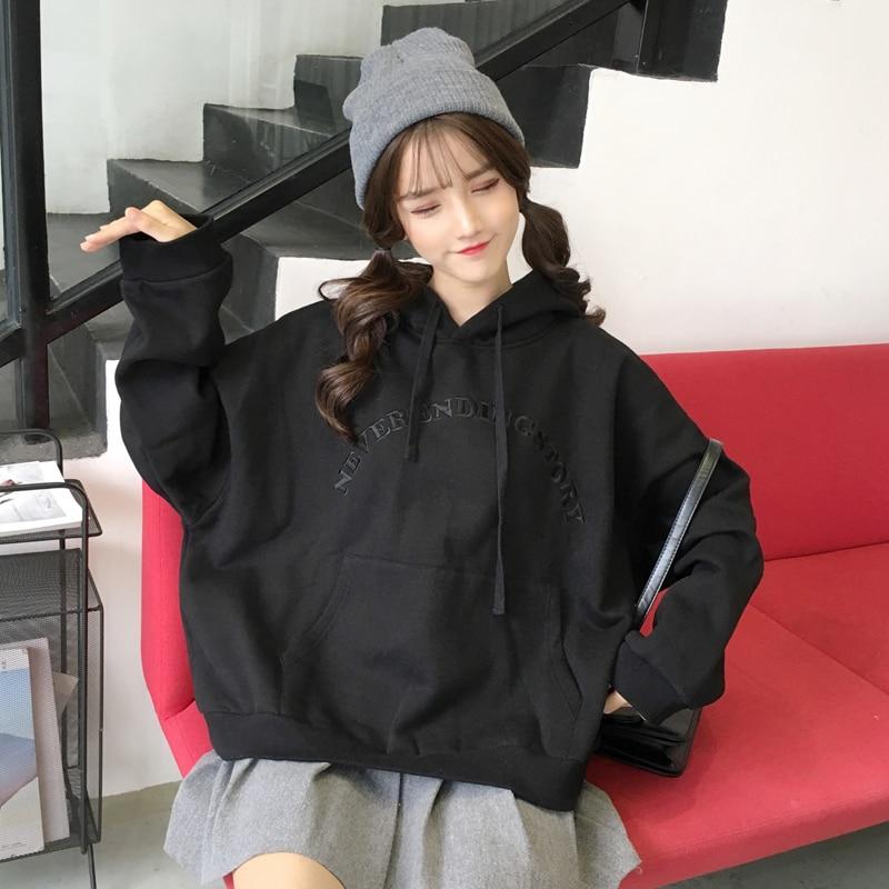 Women's Clothing Hoodies Women Hooded Thicker Plus Velvet Warm Pockets Korean Style Pullovers Womens Trendy Ulzzang Loose Oversized Hoodie Cute