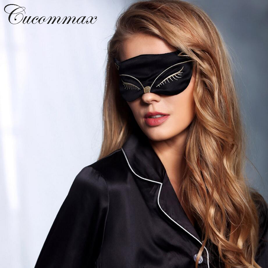 Cucommax Duplex 100% Natural Silk Sleeping Eye Mask Sexy Fox Eye Shade Sleep Mask Black Mask Bandage on Eyes for Sleeping-MSK43 bben g156m 15 6 laptop gaming computer intel i5 6300hq nvidia geforce 940mx 8g ram 256g ssd hdd optional home activated win10