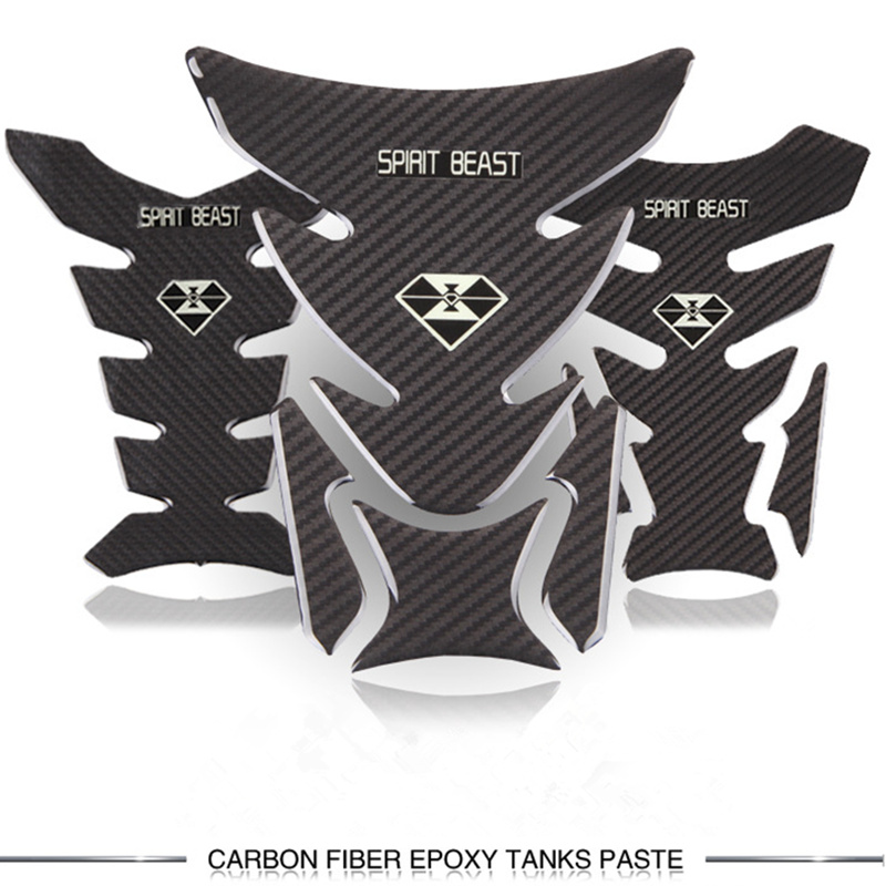 SPIRIT BEAST Universal Reflective 3D Motorcycle Sticker Fuel Oil Tank Pad Decal Protector Cover Black For Honda Yamaha etc honglue motorcycle scooter fuel tank plastic black paint cover oil tank cover for honda dio scooter af27 af28 fuel tank cap