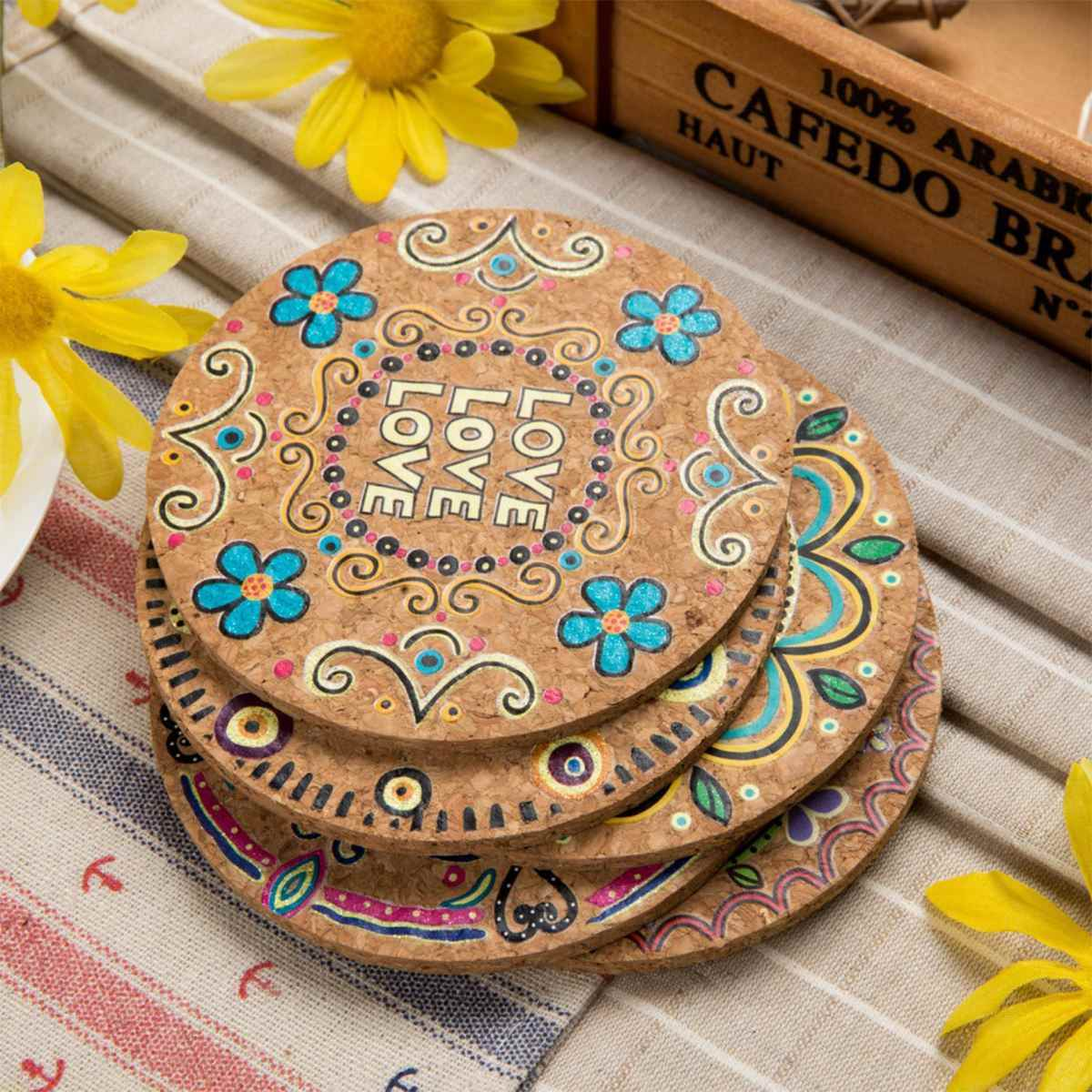 4 Pcs Moisture Resistant Natural Cork Round Cup Coasters Drink Coasters Heat Insulation Patterned Pot Holder Mats for Tabletop