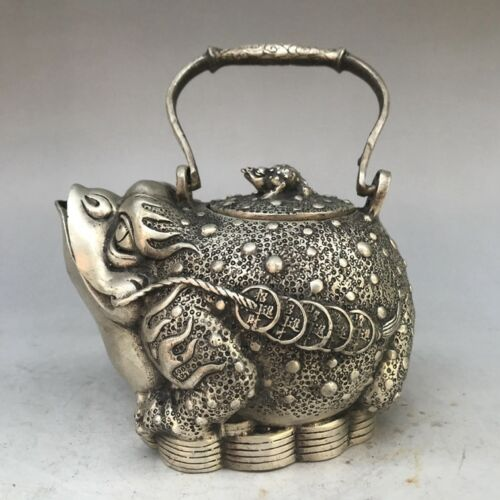Elaborate Interesting Old-style Lucky White Copper Toad Animal TeapotElaborate Interesting Old-style Lucky White Copper Toad Animal Teapot