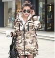 Las nuevas Mujeres de Invierno Camuflaje Parka Abajo Cubre la Chaqueta Larga Con Capucha Caliente de la Manera Outwear Grueso Abrigo Militar Diseño