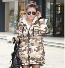 New Winter Women Camouflage Parka Down Jacket Coat Long Hooded Warm Outwear Fashion Thick Overcoat Military Design