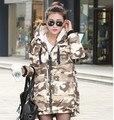 Novo Inverno Mulheres Parka Para Baixo Casaco Jaqueta de Camuflagem Militar Projeto Longa Com Capuz Quente Outwear Moda Casaco Grosso