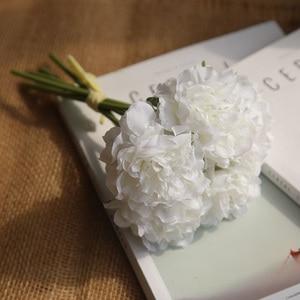 Image 5 - ผ้าไหมสีชมพูไฮเดรนเยียประดิษฐ์ดอกไม้งานแต่งงานดอกไม้สำหรับเจ้าสาวผ้าไหม Blooming Peony ปลอมดอกไม้สีขาวตกแต่ง