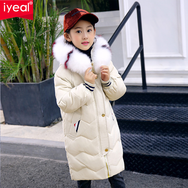цены IYEAL Winter Jacket Girls Fashion Large Fur Hooded White Duck Down Jacket Thick Warm Loose Kids Parkas Children Winter Coat