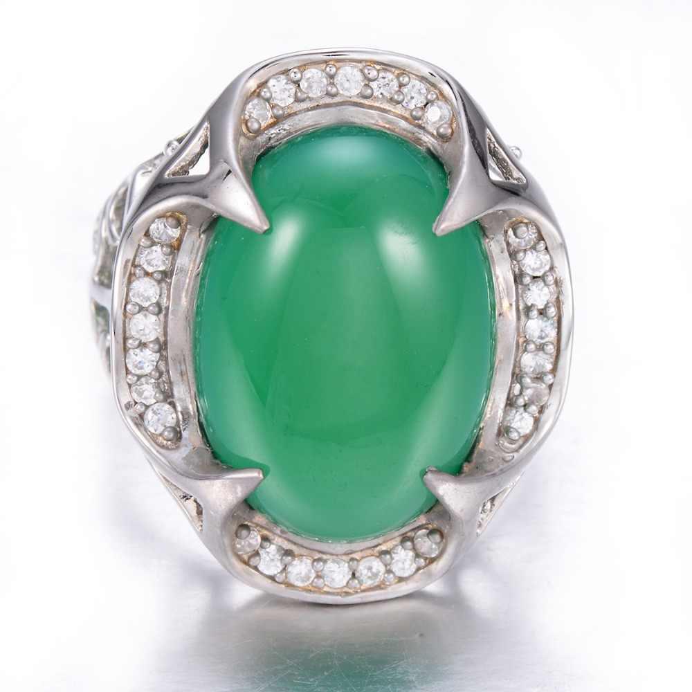 Hutang สีเขียวหยก Cabochon Cut Solid 925 เงินสเตอร์ลิงแหวนสตรีอัญมณีเครื่องประดับวินเทจ Vintage Xmas ของขวัญ 11.11