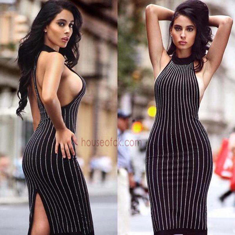 Backless Vestidos Splittingshort As Sexy Hombro Coctel Bodycon Crystal Vendaje 2017 Verano Shows Negro Del Vestido Halter Pic f7xwAUISPq
