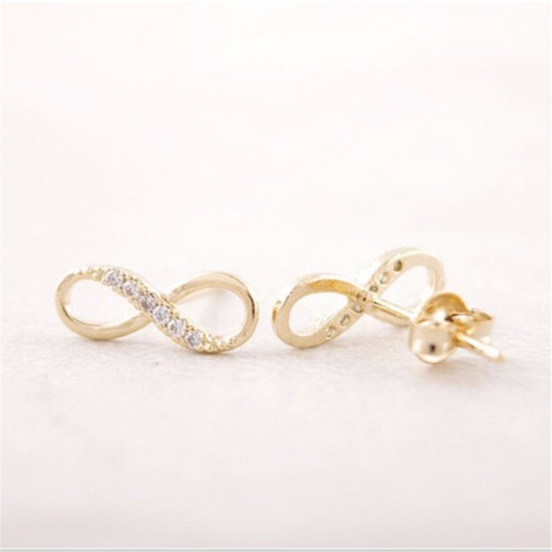 1 PCS  gold plated earring fashion zircon infinity symbol stud earrings retail delivery free of charge