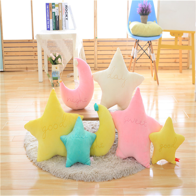 25cm Baby Pillow Toys Soft Appease Star Moon Cloud Calm Doll Plush Toys Stuffed Doll Cute Bed Decoration Cushion Brinquedos Gift