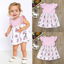 6ba8b15df351c 2018 New Fashion Baby Girls Infant Kids Cartoon Print Dress Clothes Romper  Casual Dresses High Quality