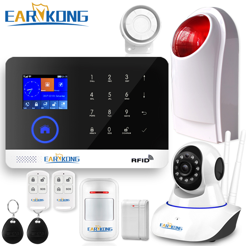 EARYKONG 433MHz Wifi GSM Alarm System Wireless Door Window Open Detector SIM APP Menu Display Touch Keyboard Include 8 Language