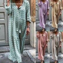 Boho Summer Dress 2019 Loose Casual Beach V Neck Ladies Long Dresses Maxi Sleeve Plus Size Women 3XL 5XL