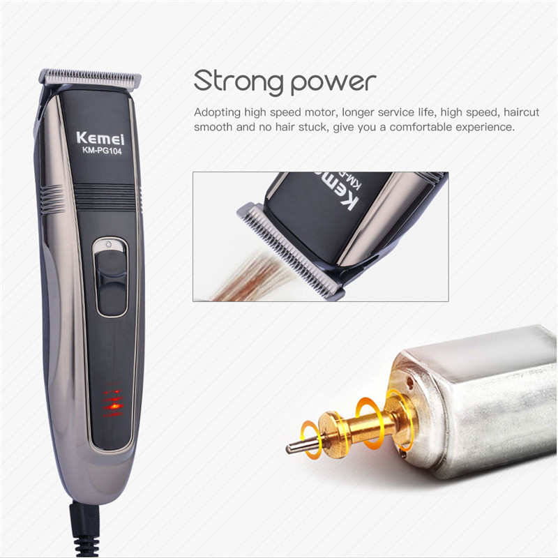 Top Quality professional hair clippers Electric Hair trimmer fast charge shaving machine Strong power Beard Trimmer KM-PG104 P00