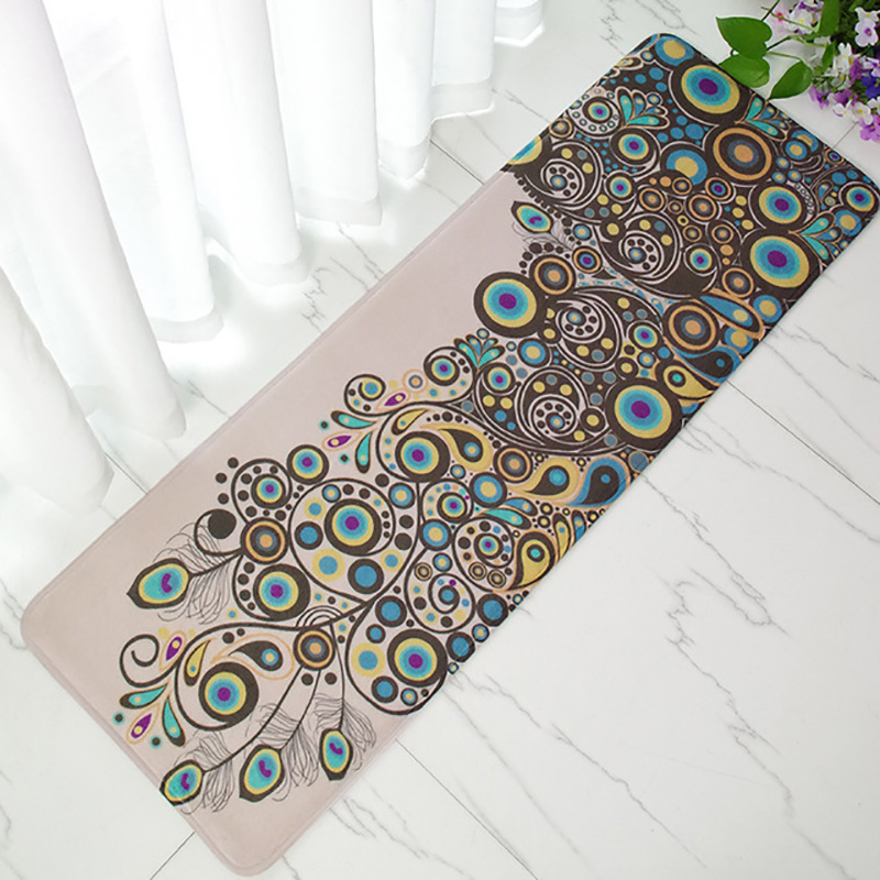 Vintage Peacock Doormat Anti-Slip Coral Floor Mat Door Mat Long Carpet Home Textile Rug 40x120cm Rug Long Mats