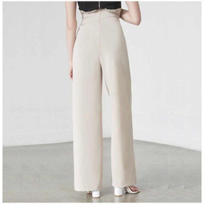 2019 Summer Street Casual Style Women's Trousers High Waist   Wide     Leg     Pants   Women's Elegant Ruffled Lace Trousers