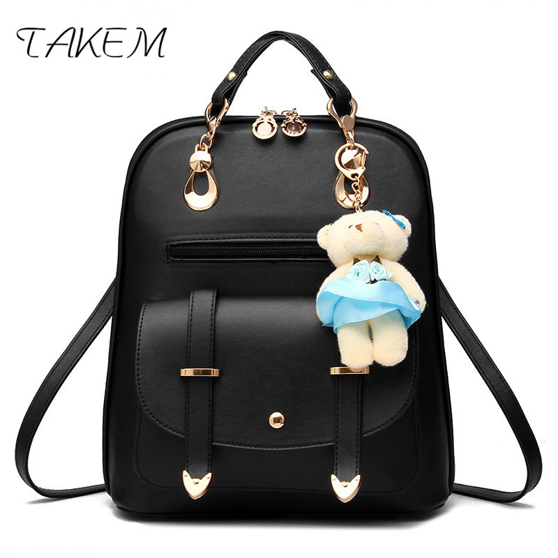 TAKEM 2018 Women Women's PU Leather Backpacks  School Shoulder bags Teenage Fashion bag student casual  girls college menghuo casual backpacks embroidery girls school bag female backpack school shoulder bags teenage girls college student bag