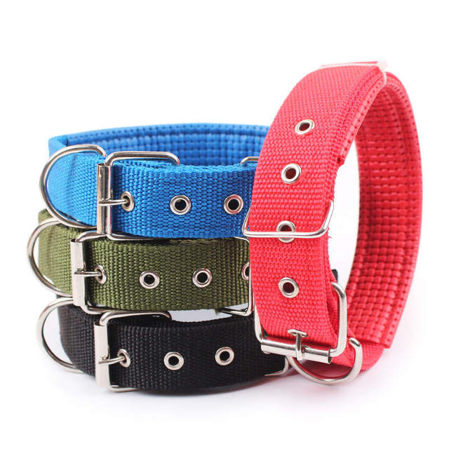 4.0*60cm Length  Comfortable Adjustable Nylon Strap Dog Collar For Small And Big Pet Dogs Collars 4 Color Red/Bule/Black/Green 1
