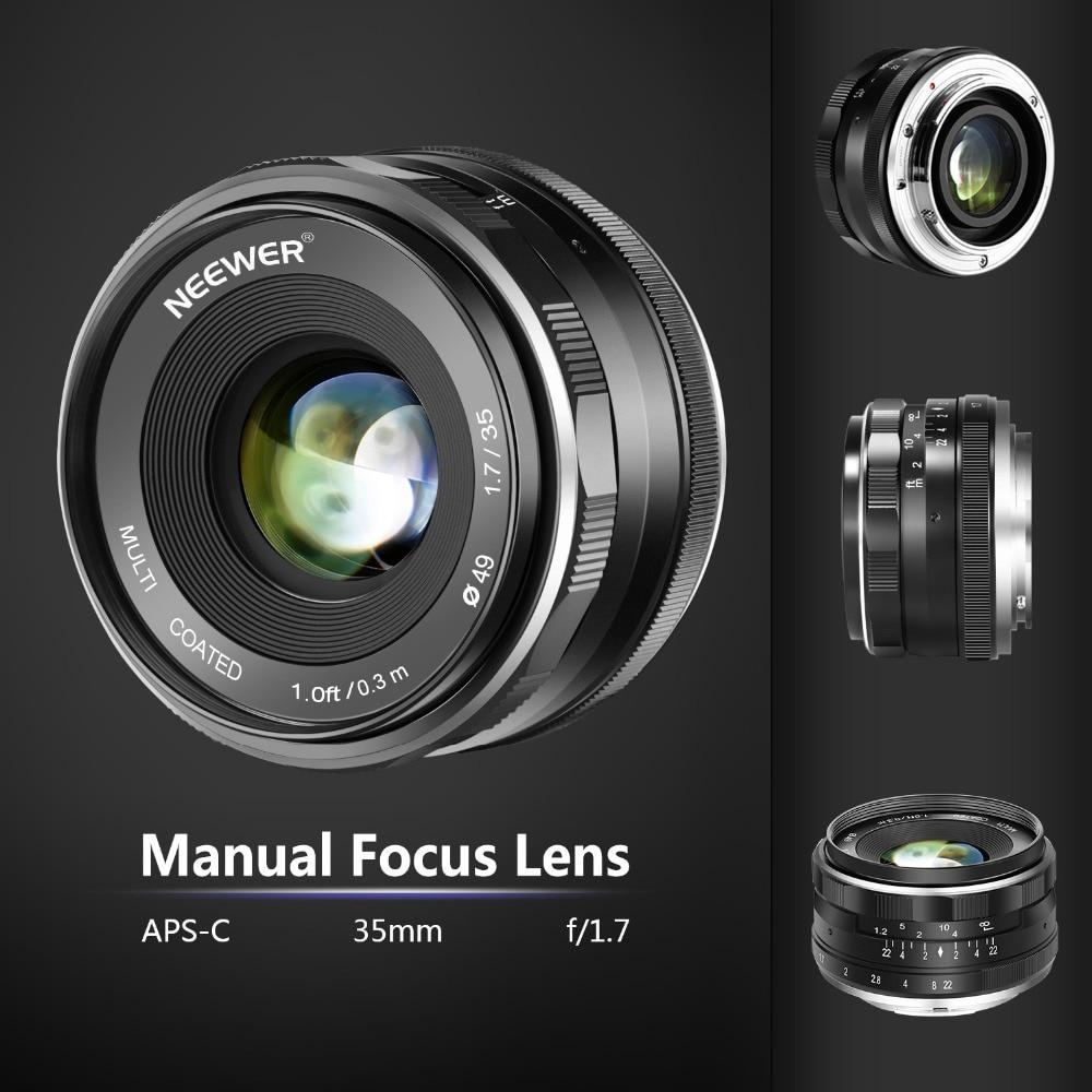 Neewer 35mm F/1.7 grande ouverture HD MC manuel Prime objectif fixe APS-C pour Canon EF-M monture objectif EOS M série Mirrorless caméras