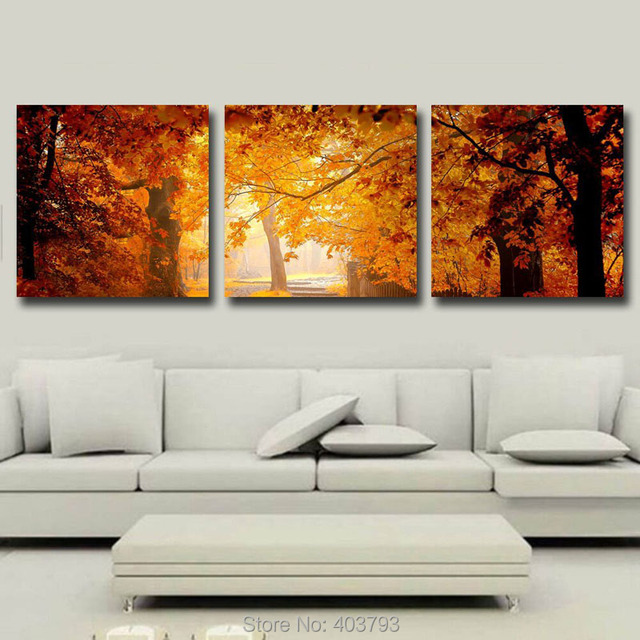 Gold Maples Forest Canvas Prints Wall Art Unframed Modern Decor Paintings Giclee Artwork For Living Room