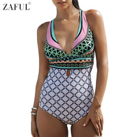 ZAFUL 2017 One Piece Swimsuit Women Bathing Suits V Neck Sexy Backless Beach Wear Swim Suit