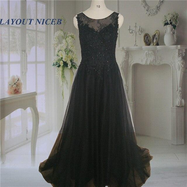 7070e1adfd Vestido Social Long Black Evening Dresses Beaded Lace Prom Dresses 2016 V  Back Tulle Applqiue Robe de Soiree Courte Women WT23G