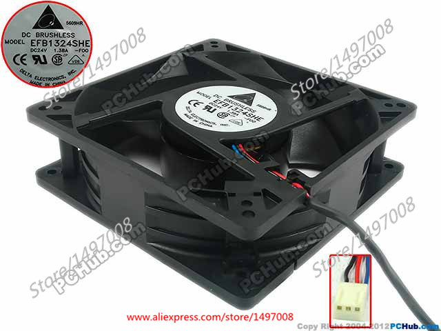 Free Shipping For Delta EFB1324SHE, -F00, DC 24V 1.38A 3-wire, 3-pin connector 90mm 127x127x38mm Server Square Cooling fan [powernex] mean well original hlg 40h 54a 54v 0 75a meanwell hlg 40h 54v 40 5w single output led driver power supply a type