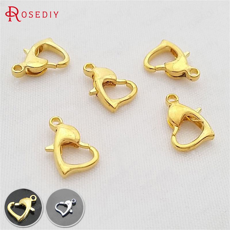 40PCS 8MM 10MM Gold Color Brass Dolphin Heart Lobster Claw Clasps Diy Jewelry Findings Accessories Wholesale(China)