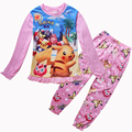 New Pikachu POKEMON GO Girls Pajama Sets Spring Cotton Clothing Set For Girls Long Sleeve Shirt Pants 2 Pieces Kids Clothing