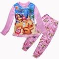 New Pikachu POKEMON GO Girls Pajama Sets Spring Cotton Clothing Set For Girls Long Sleeve Shirt Pants 2 Pieces Kids Clothing