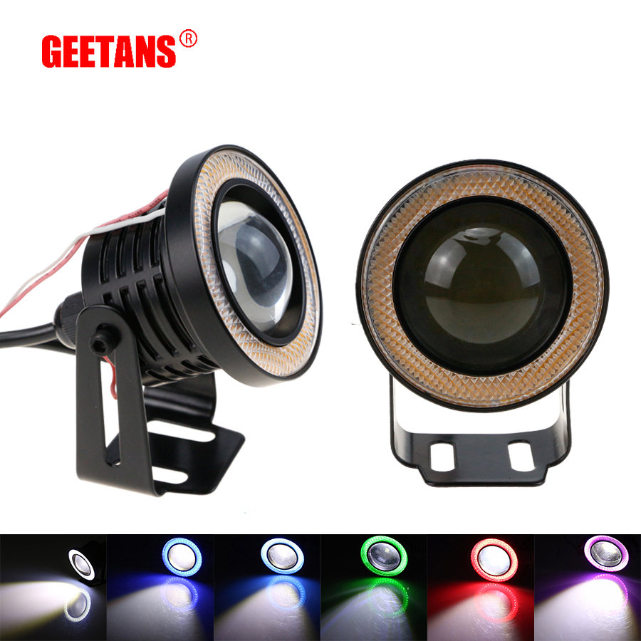 GEETANS 2pcs Waterproof Projector LED Fog Light With Lens Halo Angel Eyes Rings COB Xenon White 12V SUV ATV Off Road Fog Lamp H free shipping hid xenon fog lamp projector lens kit glass lens with white red blue yellow purple green cob angel eyes