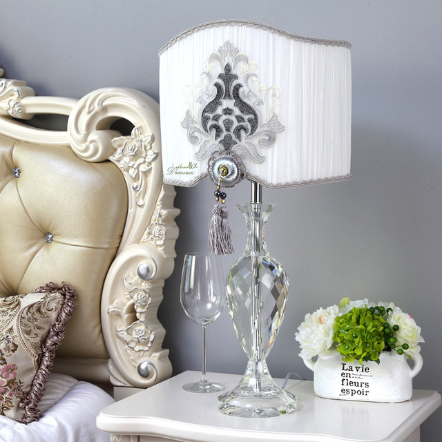 Tuda Free Shipping Art Deco Style Table Lamp Clic Fabric Shade K9 Crystal Decoration