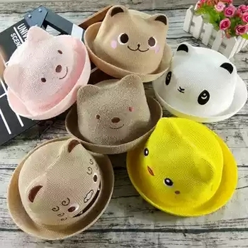 2019 summer Fashion Cute Cartoon Straw Hat Girl Hat Boy cap Child Sun Hat Child Solid Beach Panama Hat fashion parent child straw sun hat cute children sun hats women bow straw cap beach big brim panama hat casual glris summer cap