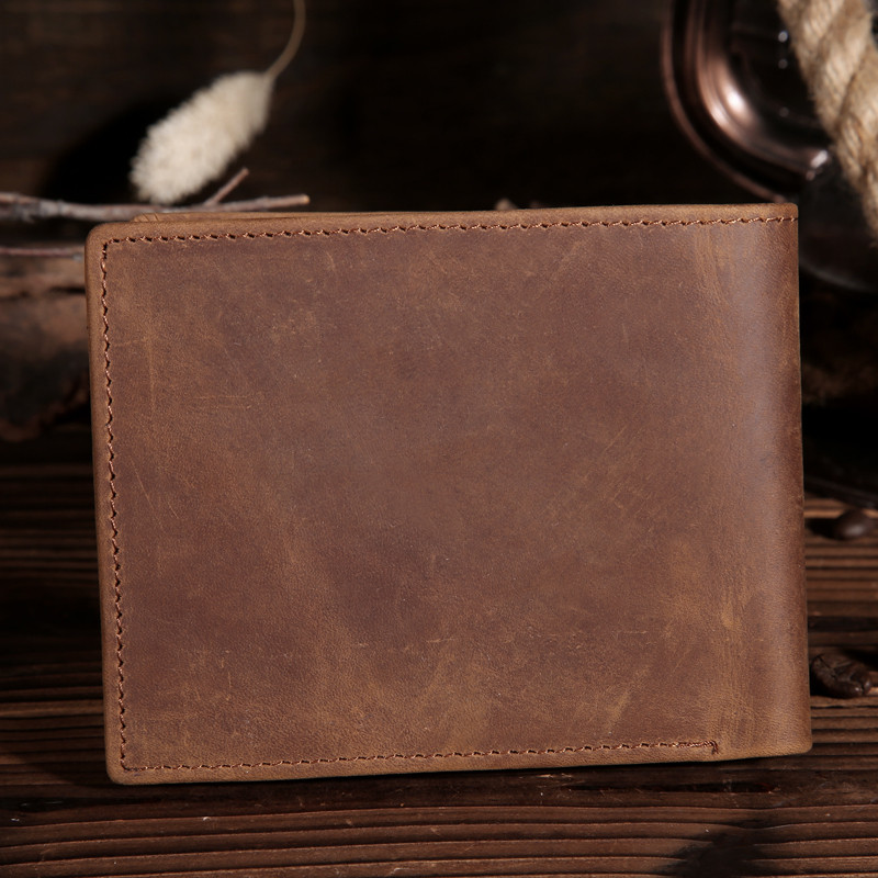 Crazy Horse Genuine Cowhide Leather Men's Wallet Big Capacity Purse Pouch For Men Male Man With Coin Pocket Card Holder 15482-5 simline fashion genuine leather real cowhide women lady short slim wallet wallets purse card holder zipper coin pocket ladies