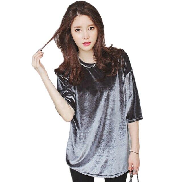 S-4XL Plus Size Solto Camisas Das Mulheres 2016 Moda Primavera de Manga Curta de Veludo Camisetas Mujer Velour T Shirt Tops