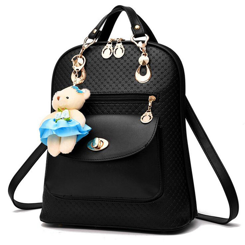 Women Backpacks Zipper Bear PU Leather Feminina Shoulder Solid Bags Knapsack Brand Designer Luxury Teenager Girls