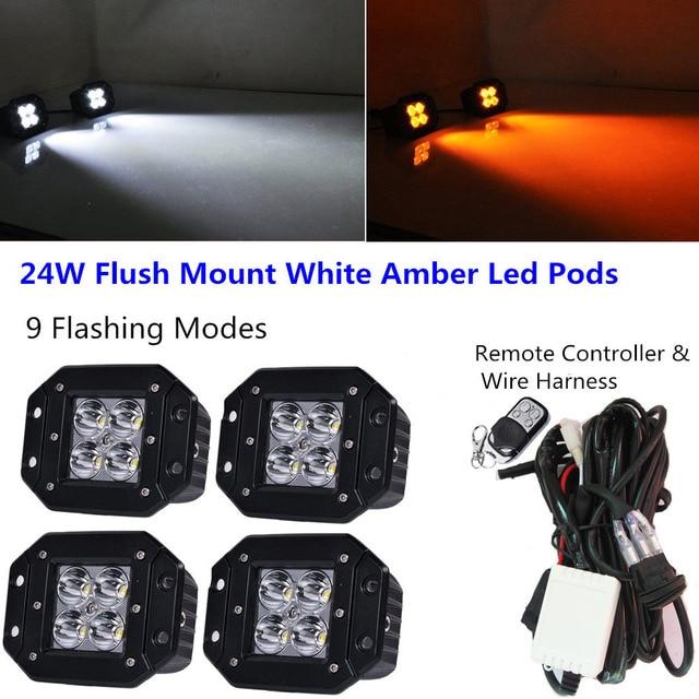 Honzdda 4pcs flush mount Led Light 12v White Amber Led Fog Light 9 ...