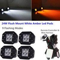 Honzdda 4pcs flush mount Led Light 12v White Amber Led Fog Light 9 Flashing Mount Led Emergency Warning Light Free Wire Harness